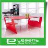 Tabela Center de vidro curvada com pintura vermelha