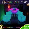 庭の家具によって照らされるプラスチック円形LEDのコーヒーテーブル