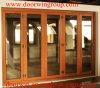 Portas de dobradura importadas da madeira contínua de projeto moderno, Teak contínuo/carvalho, porta francesa moderna de alumínio folheada de madeira de /Larch/Pine