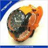 Montre de silicones de montre de sport d'acier inoxydable