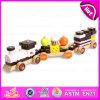 Nuevo tren de madera de la torta de los carros del tren En71 ASTM tres, tren de madera W05c026 determinado de la torta de chocolate de los bloques de la venta caliente
