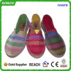 Zapatos de la cuerda del cáñamo del yute de la lona de la impresión de la marca de fábrica de la manera (RW50716)