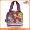 Princesa marcada portátil sacos do almoço de escola da tela de seda