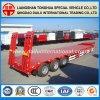 de la plate-forme 3-Axles de Lowbed remorque élevée rouge semi avec le rampe