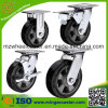 Rubber preto Wheels Fixed Caster com Brake