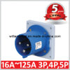 IP44 63A 2p+E Industrial Panel Mounted Plug