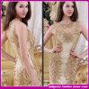 Vestido de noite frisado de cristal do ouro do Split da prata sexy nova do laço dos Sequins do cetim do querido do estilo (ASE002)