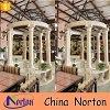 Leones de mármol blancos Mano-Tallados puros de la bóveda del hierro del Gazebo de Norton florales con la tapa negra Ntmg-057L del hierro
