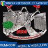 カスタム銀製のめっきの卸売はマラソンの連続した競争の金属メダルを遊ばす