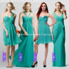 2015 Bridesmaid novo Dress Green Um Shoulder Evening Gowns Long Chiffon Bridal Gowns Custom um Line Party Dress a-13