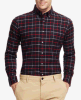 Top-Quality Men's Spring Checked Flannel Long-Sleeve Camisas de lazer casual