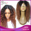 Do cabelo Curly Kinky do Virgin de Ombre 1b#/30# peruca superior de seda Peruvain