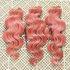 20  Non-Remyの人間の毛髪Weftボディ波の毛の#Pink