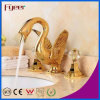 Faucet de bacia de lavagem dobro dourado elegante da cisne do punho de Fyeer