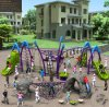 Campo da giuoco rampicante di avventura dei bambini emozionanti di Kaiqi impostato (KQ50114A)