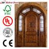 Puerta de madera de la entrada sólida/puerta de caoba de la madera/puerta de madera de caoba para el chalet