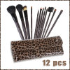 Leopard Bagの上のRollの12 PCS Makeup Brushes Set