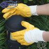 Nmsafety Хлопок блокировки Желтый нитрил покрытием безопасности перчатки
