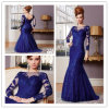 Royal Blue Applique à manches longues Mère Dress (MD003)