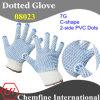7g белый полиэстер / хлопок трикотажные перчатки с 2-х сторон Синий С-форма ПВХ точками