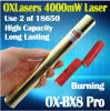 Oxlasers Full Brass Housing Ox-Bx8 PRO 1000MW 2000MW 3000MW e laser Pointer Uses 18650 Batteries 5 di 4000MW 4W Focusable Burning Blue in 1 Free Shipping
