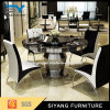 Jantando tabela de banquete ajustável ajustada com parte superior de vidro redonda