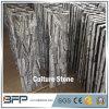 Pierre de culture de saillie décalée par marbre noir de texture pour les tuiles de verrouillage de mur en pierre