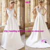 Round bonito Neckline Bridal Dress Wedding com V-Neckline Back