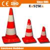 ヨーロッパPVC通りの道路工事の赤いトラフィックの円錐形