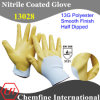 13G White Polyester Knitted Glove avec Yellow Nitrile Smooth Coating
