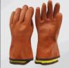 Gant entièrement acrylique de l'hiver de PVC de garniture d'orange (5126)