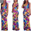 Kiannah Mehrfarbendruck, der V-Stutzen Maxi Kleid L51410 taucht