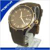 Montre-bracelet squelettique de courroie en cuir de Brown de cadran d'hommes