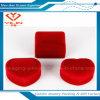 Rectángulo de joyería reunido en forma de corazón rojo barato del pendiente del anillo del terciopelo