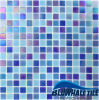 Sales caldo Mixed Blue Square Chip Melt Glass Mosaic Mesh per Outdoor Used
