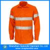 T-shirt orange de couleur de contraste de sûreté de force d'OEM de Guangdong salut pour les hommes