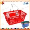 Nueva cesta de compras plástica del supermercado con las manetas del metal (Zhb58)