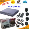 4 Kanal DVR Kit mit Sony 700tvl Dome Camera