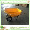 Wheelbarrow de madeira do punho do quadrado grande da capacidade com cubeta plástica