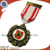 3D rami di ulivo Old Antique Metal Medal Badge con Ribbon