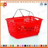 Panier en plastique neuf de système de traitement de double de supermarché des prix bon marché (Zhb37)