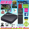 o ósmio 2016 do Android 4.4 da caixa da tevê de Kodi do núcleo do quadrilátero da ROM do RAM 8g de Mxq Amlogic S805 1g H. 265 suportou a caixa Android esperta da tevê de Mxq HD do Android 4.4 quentes do LAN Miracast Airplay de WiFi