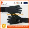 Noir noir de gants de double de mousse de latex de Ddsafety avec la manchette de tricotage