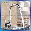 Articles sanitaires de chrome de traitement de cuisine de l'eau de taraud simple en laiton bon marché de bassin