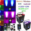 RGBWA+UV 6in1 LED 편평한 동위 (Wireless&Battery&phone 통제)