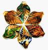 Золот-Фольга и цветастая картина внутри шкентелей формы листьев стеклянных (PENH0083)