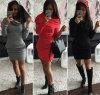 Mujeres cortas elegantes Hip 2015 del vestido de la manera del paquete encapuchado del vestido del otoño del invierno