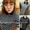 Streifen-Shirt-Polo-Hemd-Sportkleidung der Frauen Baumwoll