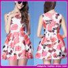 新しいDesigneの夏の方法女性のローズプリントカクテルドレスの韓国の方法は2015年に服を着せる(F-004)
