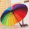 Open manuel 12/24 Straight Rainbow Umbrella avec Strong Quality Promotion